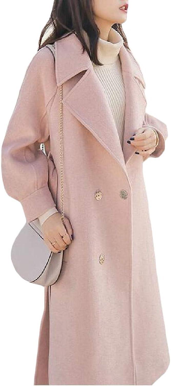 Etecredpow Womens WoolBlend Outwear Belt Notched Lapel Trench Coat Overcoat Pea Coat