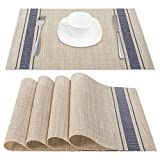 Artand Placemats, Heat-Resistant Placemats Stain Resistant Anti-Skid Washable PVC Table Mats Woven Vinyl Placemats, Set of 4 (Blue)