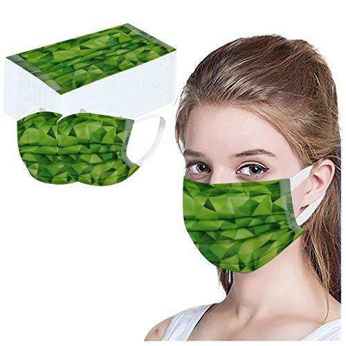 STYLEE Drucken 50pc Schmelzgeblasen Vliesstoff Mundschutz Einweg Face Dekoration (Grün)