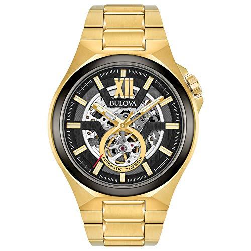 Bulova Relógio masculino automático, com pulseira de aço inoxidável, dourado, 27 (modelo: 98A178)