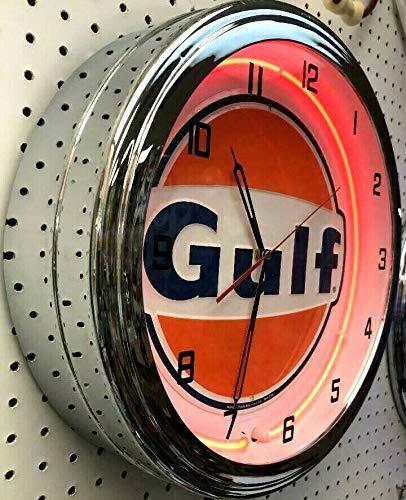 16  Gulf Gasoline Motor Oil Gas Station Sign Single Orange Neon Clock No Nox Gulftane