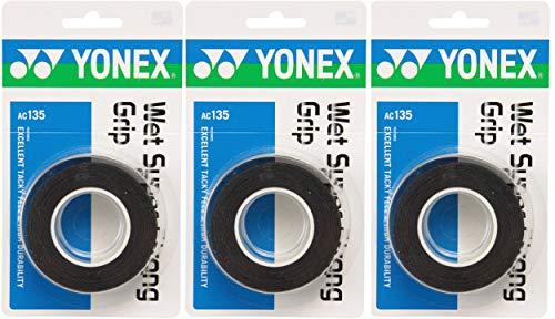 ヨネックス(YONEX) テニス バドミントン グリップテープ ウェットスーパーストロンググリップ 3本入り×3個セット ブラック AC135
