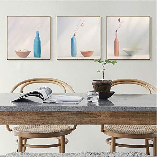 Liangzheng stilleven vaas schilderij in Scandinavische minimalistische stijl affiche canvas schilderij afbeelding restaurant huis muurkunst decoratie 40x50cmx3 niet ingelijst