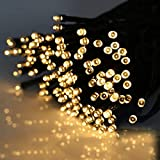Cadena de luces solares al aire libre, 22 m 200 LED cadena de luces de hadas con energía solar 8 modos luces de jardín para decoración, árbol, patio, jardín, hogar, boda, fiesta (blanco cálido)