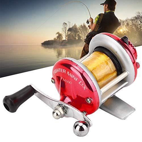 Alomejor Carretes de Pesca con Mosca giratorios de Agua Salada Rueda Océano Mar Barco Carrete de Pesca en Hielo Trolling con Carrete de señuelo de línea(Rojo)