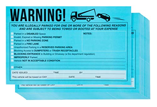 Parking Violation Stickers - 50-Pack Towing Stickers, Vehicle Parking Warning Stickers, No Parking Sign, Car Window Sign, Fluorescent Blue Stickers, Adhesive Stickers, 8.2 x 5.2 Inches