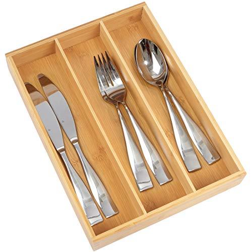 Para utensilios bandeja para cubiertos organizador con 7compartimentos resistente y ampliable hecho de bambú orgánico Niza cajón organizador soporte por artmeer