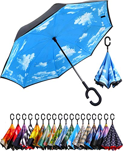 BAGAIL Double Layer Inverted Umbrella Reverse Folding Umbrellas Windproof UV Protection Big Straight Umbrella for Car Rain Outdoor with C-Shaped Handle (Blue Sky)