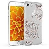 kwmobile Coque Compatible avec Apple iPhone 7/8 / Se (2020) - Housse Protectrice pour Téléphone en Silicone Fleurs Jumelles Or Rose-Transparent