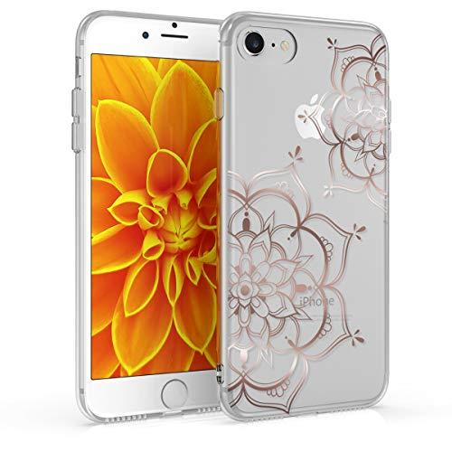 kwmobile Hülle kompatibel mit Apple iPhone 7/8 / SE (2020) - Handyhülle - Handy Hülle Blumen Zwillinge Rosegold Transparent