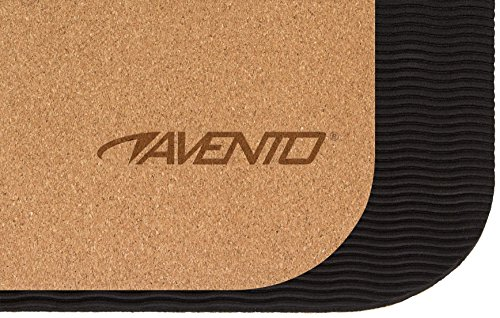Avento in Sughero Naturale Super Grip Tappetino da Yoga, Marrone/Nero, Taglia Unica