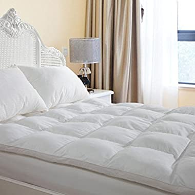 D & G THE DUCK AND GOOSE CO Plush Durable Premium Hotel Quality Mattress Topper, Hypoallergenic Overfilled Down Alternative Fiber with 10-Year Warranty, King Size 2  H
