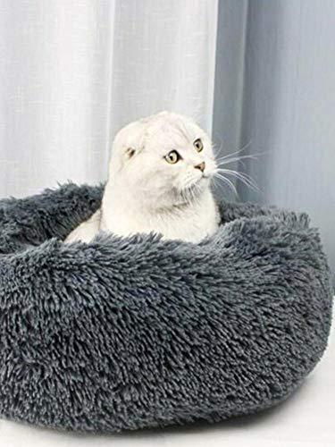 Luckything Huisdierbed voor honden en katten, huisdier, hond kat rustgevend bed rond nest, zacht donut-huisdierbed, luxe bont donut-design, comfortabel om te slapen in de winter, Dunkelgrau50cm