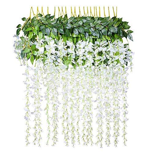 Pince Yue 3.6 Pieds Artificielle Wisteria Vigne Ratta Guirlande à Suspendre Corde de Fleurs en Soie pour Mariage Décorations Home Garden Party Decor Simulation Fleurs (12 pcs)