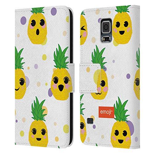 Head Case Designs Licenza Ufficiale Emoji Kawaii Cactus E Ananas Cover in Pelle a Portafoglio Compatibile con Samsung Galaxy S5 / S5 Neo
