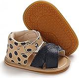 Sandalías de Bebé Recién Nacido Zapatos Casuales Antideslizantes Cuero PU Transpirable de Verano Suela Suave Zapatos para Caminar Primera Infancia de 0 a 18 Meses Cumpleaños (Lunar, 0-6 meses)
