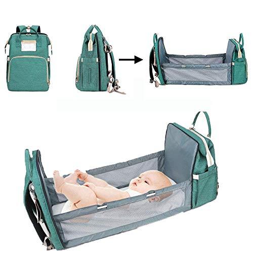 UMYMAYDO1 Mochila de pañales para bebé con cuna, doble uso, bolsa para pañales con cambiador, multifuncional, gran capacidad, impermeable