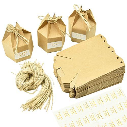 Wandefol 50 Stück Kraftpapier Geschenkbox Geschenkschachtel mit Papieretikette und Geschenkseil, Geschenkverpackung für Hochzeit Party DIY Dekoration