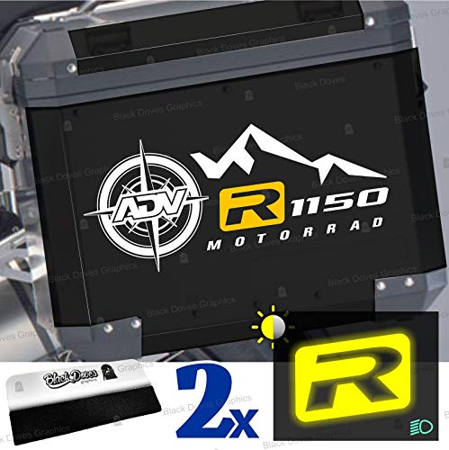 2 adhesivos bicolores R1150 Motorrad R1150GS Adventure R 1150 GS (blanco y amarillo).