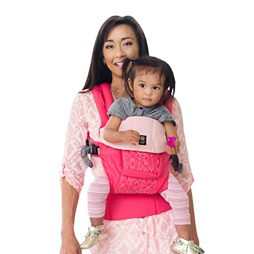 LÍLLÉbaby Complete Embossed Luxe Six-Position 360° Ergonomic Baby and Child Carrier, Pink Ribbon