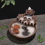 Qohg bruciatore di incenso in ceramica reflusso cono cono bruciatore di incenso statua di buddha ceramica buddista sandalo in legno telaio in legno decorazione di pesce per il relax, meditazione, yoga