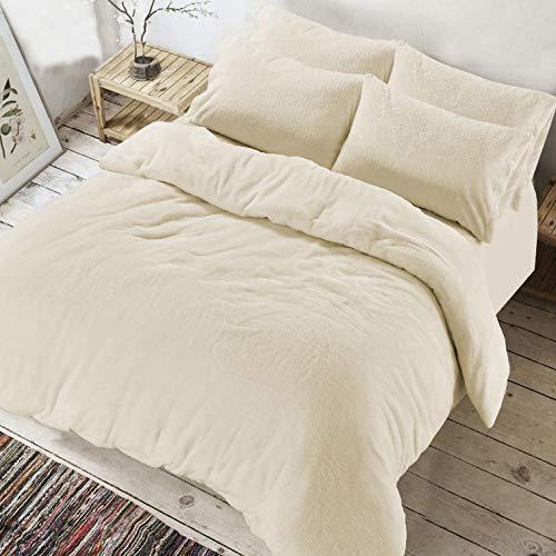 AR Textile Soft Teddy Bear Fleece Duvet cover with Pillowcases, Thermal Warm Fleece Bedding Set in single double king superking (Cream, Double)