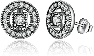 Aretes de Mujer Pendientes Joyería Fina De Moda 2018 Vintage Allure Clear CZ Stud Earrings AR0047