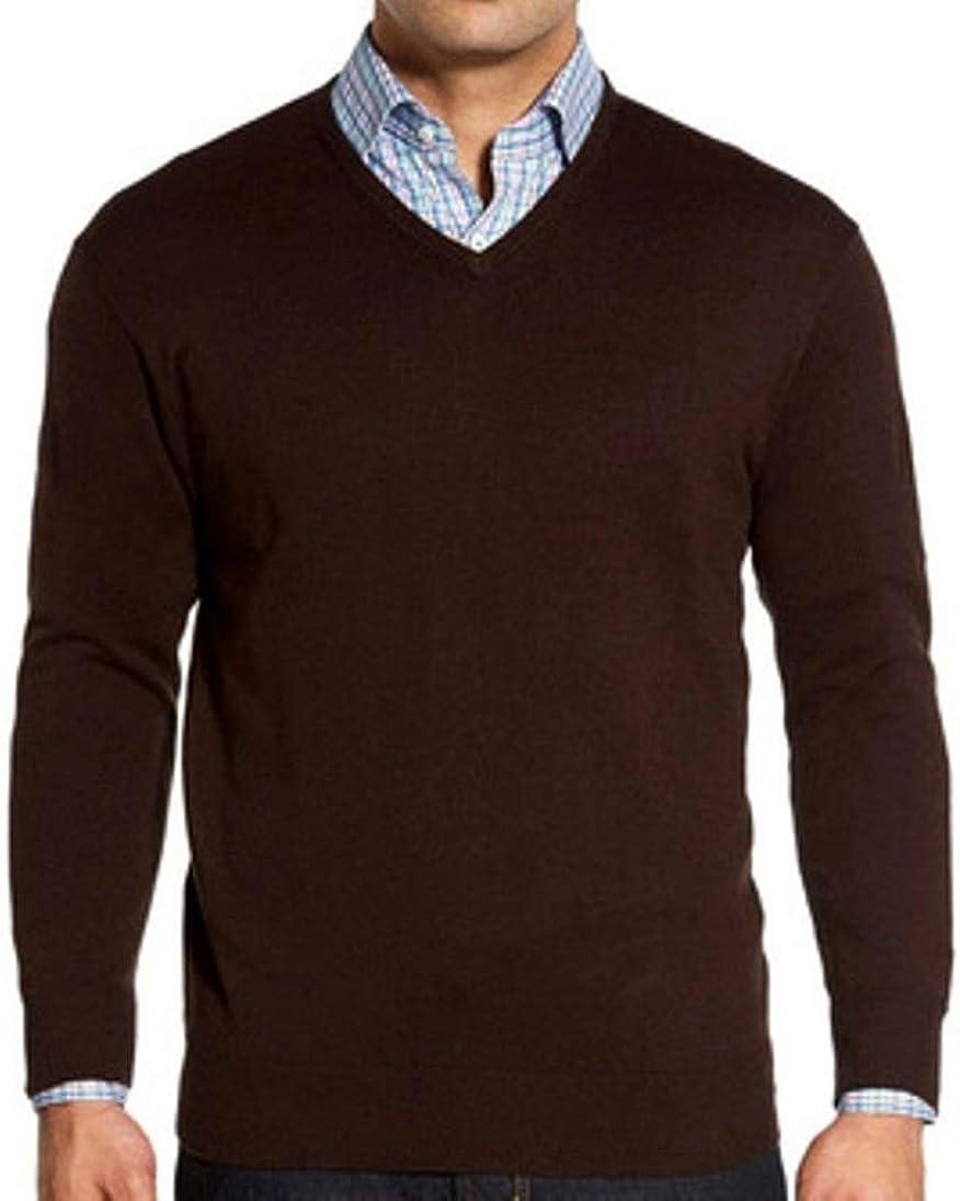 LIZ CLAIBORNE Apt 9 Mens Merino Wool Blend V-Neck Sweater Big & Tall Dark Brown