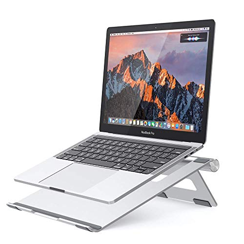 NULAXY Foldable Aluminum Laptop Stand, Adjustable Laptop Cooing Stand Holder for Laptop, 10-15.8' Notebook and Tablet Desktop Holder with Anti-Slip Silicone Pad, Silver