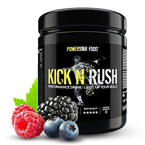 KICK\'N\'RUSH | Pre Workout Booster speziell für Fußballer | Sport Drink mit Elektrolyten, Mineralien, komplexen Kohlenhydraten, Aminosäuren uvm. | 600g Pulver | Deutsche Herstellung | Wild Berry