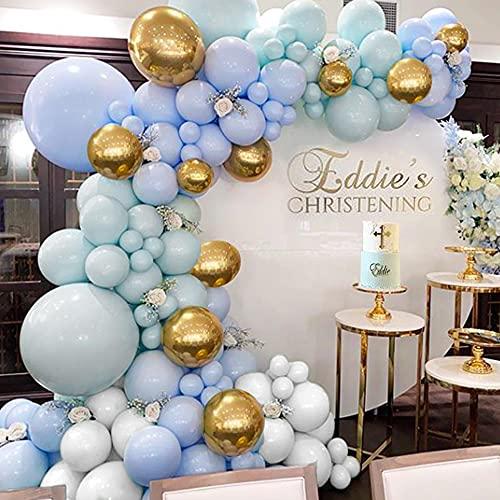 Ghirlanda Palloncino Kit Blu, MMTX Kit Arco Palloncini Bianco Blu Oro in Lattice con Palloncini Metallici per Battesimo Bimbo Compleanno Matrimonio Party Feste Deco