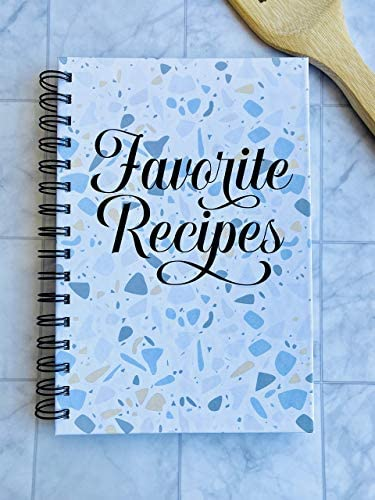 Favorite Recipes Blue Yellow Terrazo Print Recipe Journal Hardcover Spiral Bound with divider product image