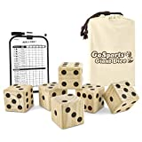 GoSports Giant 3.5' Wooden Playing Dice Set with Bonus Rollzee Scoreboard (Includes 6 Dice,...