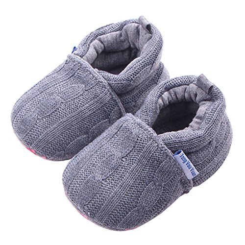 Beeliss Baby Loafers Winter Warm Knitted Cirb Shoes (6-12 Months, Grey)