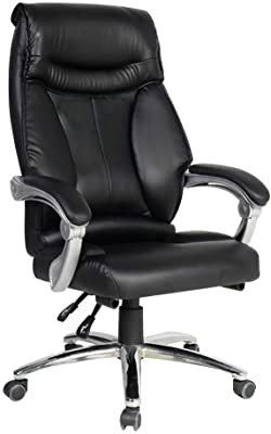 High Back PU Leather Gaming Desk Chair, Ergonomic Swivel Computer Desk Chair Reclining Desk Gaming Chair (Color : Black)