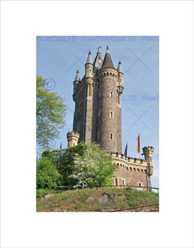 Wee Blue Coo Wilhelmsturm Schloss Dillenburg Deutschland, Kunstdruck, gerahmt, Schwarz