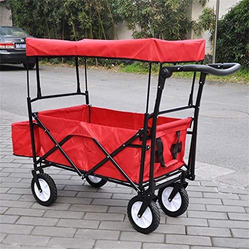 Einfache Idee Hand Truck Supermarkt Warenkorb Gepäckwagen/Camping Outdoor Trailer/Falten Tragbare Kind Vier Runden Doppelbremse mit Markise Trolley/Last 68 Kg, T-C, rot