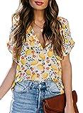 Astylish Women's Casual V Neck Short Sleeve Button Down Paisley Bohemian Tops Loose Chiffon Blouses Shirts Yellow Plus Size X-Large