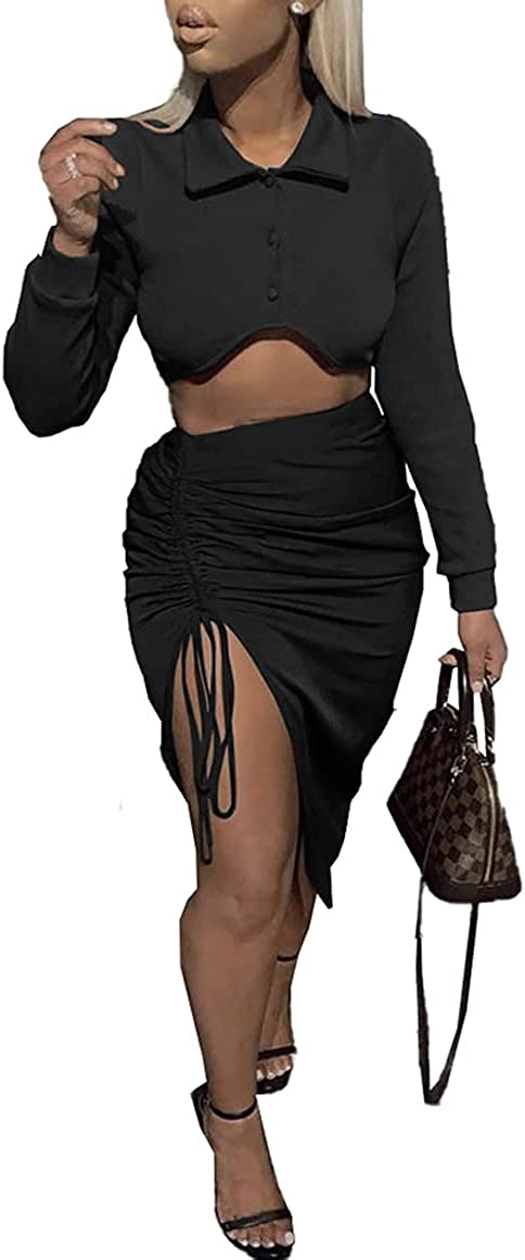 IyMoo Sexy Dresses for Club Night - Bodycon Dress Hollow Out Long Sleeve Crop Top Drawstring Ruched Midi Club Dress Set