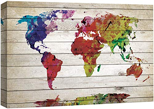wall26 - Watercolor World Map Rustic Painting - Canvas Art Wall Decor - 16'x24'