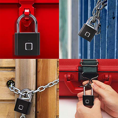 Fingerprint Padlock, One Touch Open Gym Lock for Locker, Sports, School & Employee Locker, Suitcase (No App, No Bluetooth & No Breaking into Troubled)