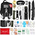 Emergency Survival Kit, 47 Pcs Professional Survival Gear Tool First Aid Kit SOS Emergency Tactical Flashlight Knife Pliers Pen Blanket Bracelets Compass with Molle Pouch for Camping Adventures from AOKIWO