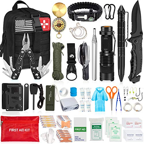 AOKIWO 126Pcs Emergency Survival Kit Professional Survival Gear Tool First Aid Kit SOS Emergency...