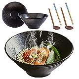 YTLEMON 2 Set (6 Pezzi) Ciotola Ramen in Ceramica Giapponese, 1500 ml/ 9 in Grande Ciotola di Zuppa, Cucchiaio e Bacchette Abbinati, per Riso/Insalata/Minestra/Cereali/Assortiti