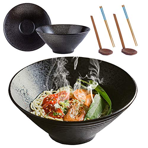 2 Juegos (6 Piezas) Cuencos de Ramen Cerámica, 9Inch/1500ml Tazón de Sopa, Tazón de Cereal, Vajilla de Cocina Japonesa, Fácil de Limpiar y Apto Para Lavavajillas
