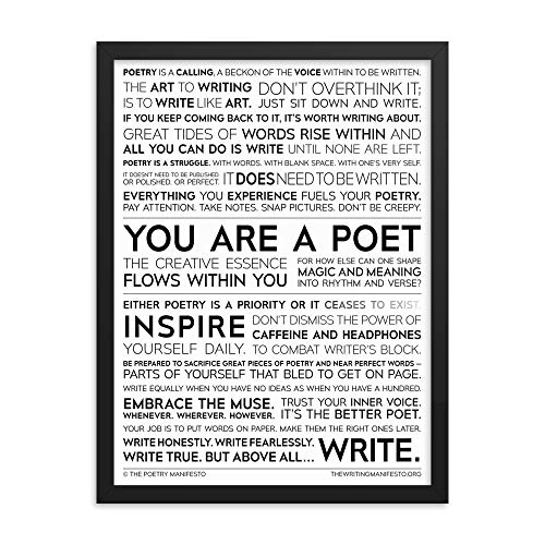Poetry Writing Inspirational Print for Poets, Writers & Authors — Cure Writer's Block & Boost Creativity; Poetry English Classroom Wall Art Poster; Gift for Poets & Writers; Framed Glossy 18x24 Inch
