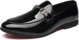 Femaroly Men's Casual Bright Leather Loafers Peas Shoes Driving Lazy Breathable Oxford Dress Shoe