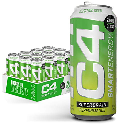 C4 Smart Energy Sugar Free Energy Drink 16oz (Pack of 12) - Electic Sour - Performance Fuel & Nootropic Brain Booster with No Artificial Colors or Dyes