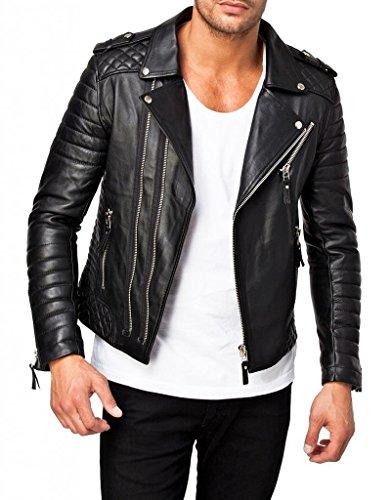 Trendtales Chaqueta de cuero para hombre, piel de cordero, Negro TTKL369 S
