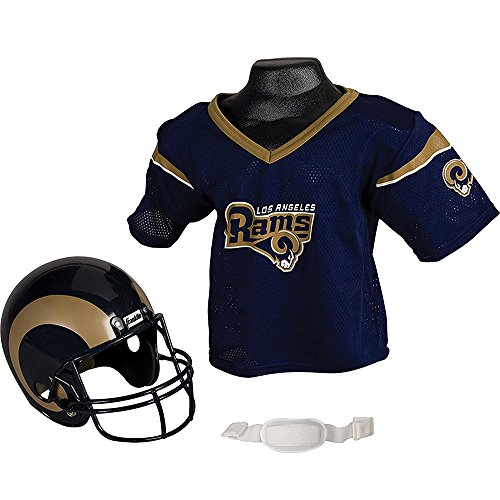 Franklin Sports NFL L.A. Rams Kids Football Helmet and Jersey Set - Youth Football Uniform Costume - Helmet, Jersey, Chinstrap - Youth M
